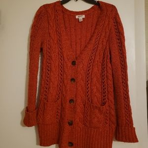 Red Button-down Sweater